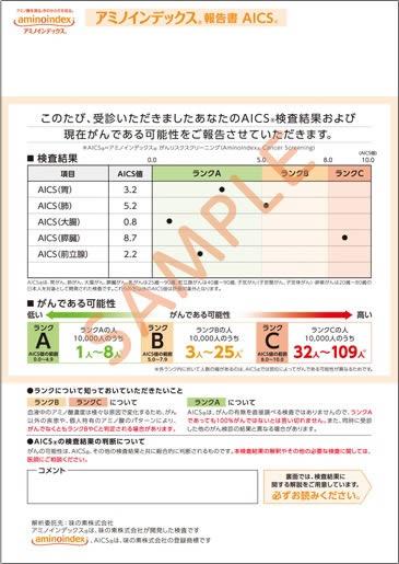 AICSの結果報告書サンプル
